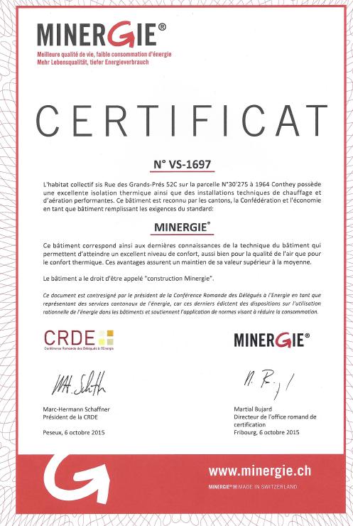 VS1697 - Label Minergie Provisoire
