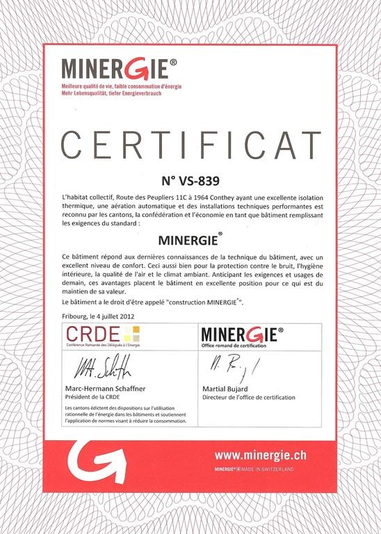 CertificatMinergieLeValais